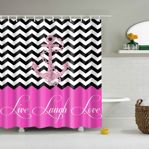Live Laugh Love Girly Purple Chevron Anchor Shower Curtain