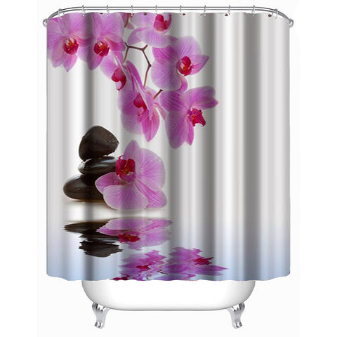 Lotus Flower Shower Curtain Purple Nature Bath Decor | GoJeek