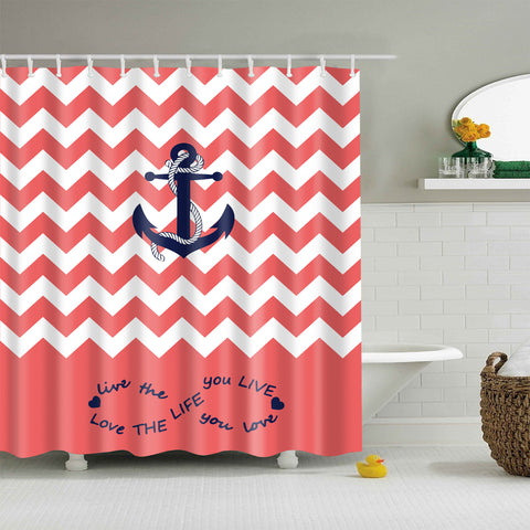 Love Life Orange Chevron Blue Anchor Shower Curtain