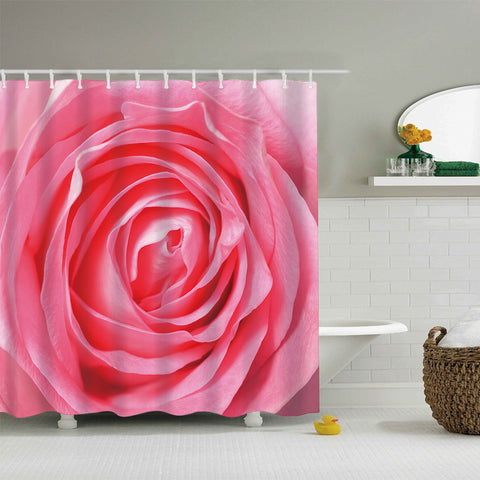 Lovely Mandala Design Petal Macro Close up Pink Rose Shower Curtain
