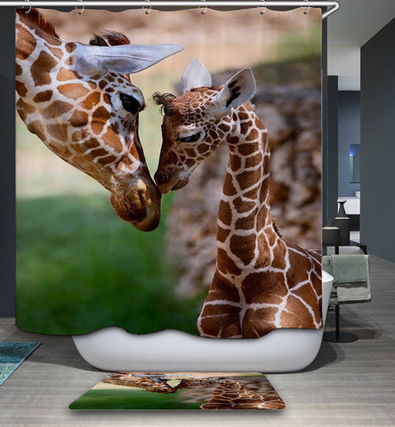 Lovely Mother Day Themed Giraffe Family Kiss Giraffe Shower Curtain