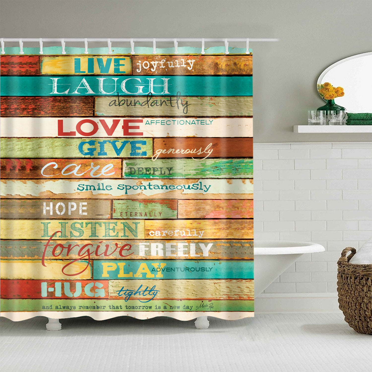 Lovely Message Quote Board Cabin Rules Shower Curtain