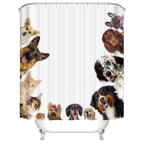 Lover of Puppy Dog Breed And Cats Watching You Funny Shower Curtain