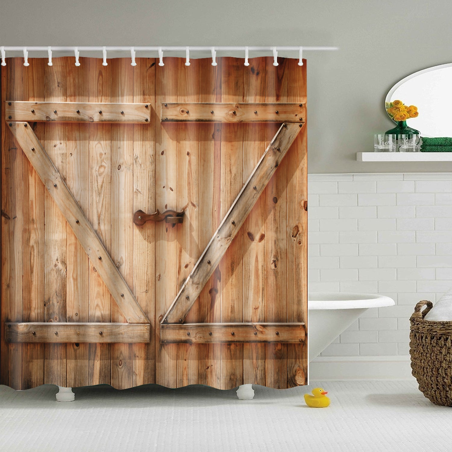Low Z Plank Barn Door Print Shower Curtain