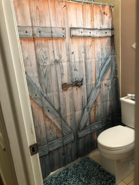 Low Z Plank Barn Door Print Shower Curtain Bathroom Decor