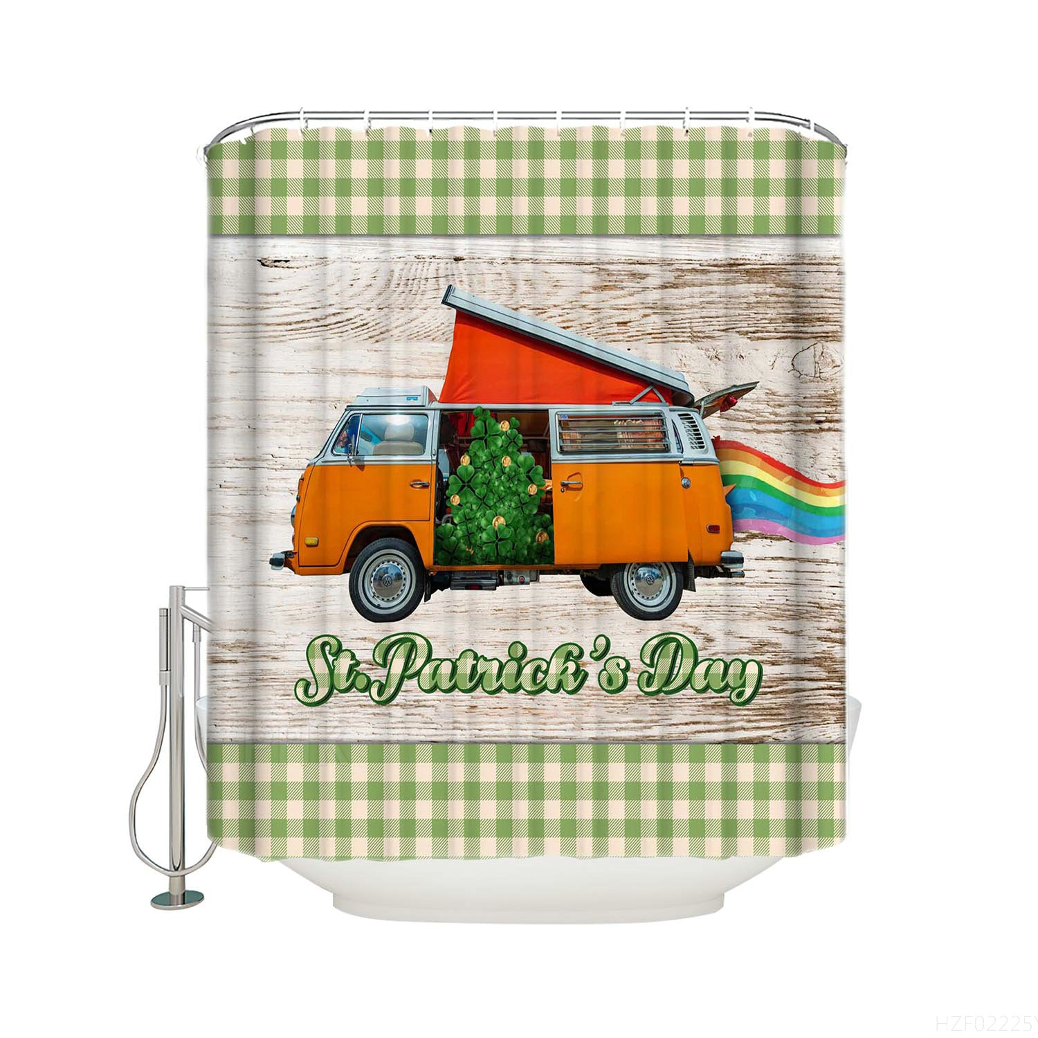 Lucky Shamrock with Rainbow Vans Green Patchwork White Barn Door Saint Patrick's Day Shower Curtain