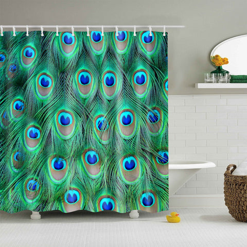 Lucky Harbinger Evil Eye Peacock Feathers Shower Curtain