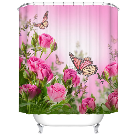 Lush Pink Rose Blossom Monarch Butterfly Shower Curtain