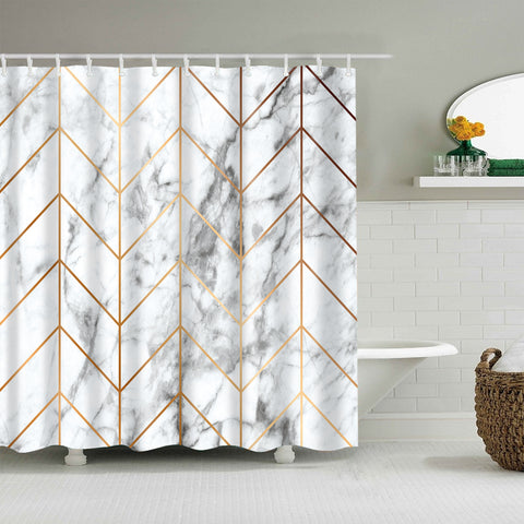 Luxurious Golden Geometric Lines White Marble Shower Curtain