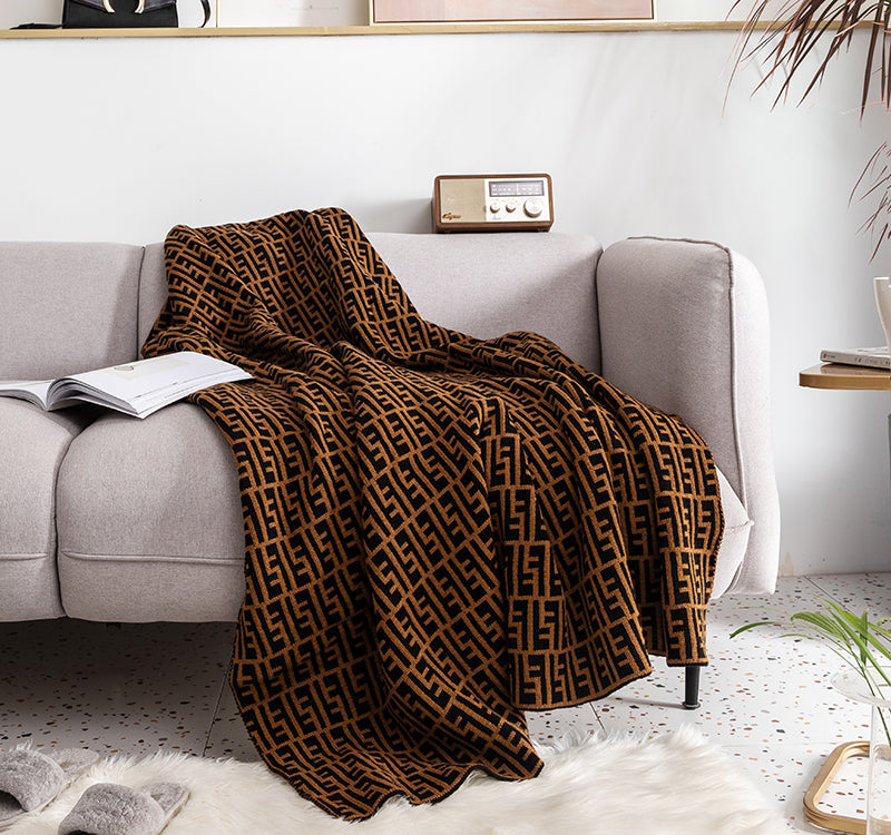 Luxury Black and Gold E Letter Woven Throw Blanket