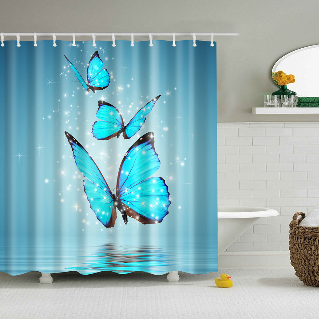 Magic Blue Butterflies Shower Curtain