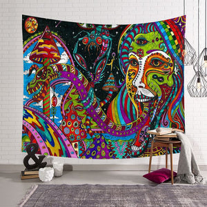 Mandala Insect Face Art Psychedelic Trippy Tapestry