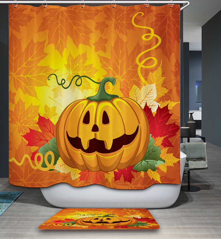 Maple Leaf Backdrop Cartoon Carving Pumpkin Shower Curtain