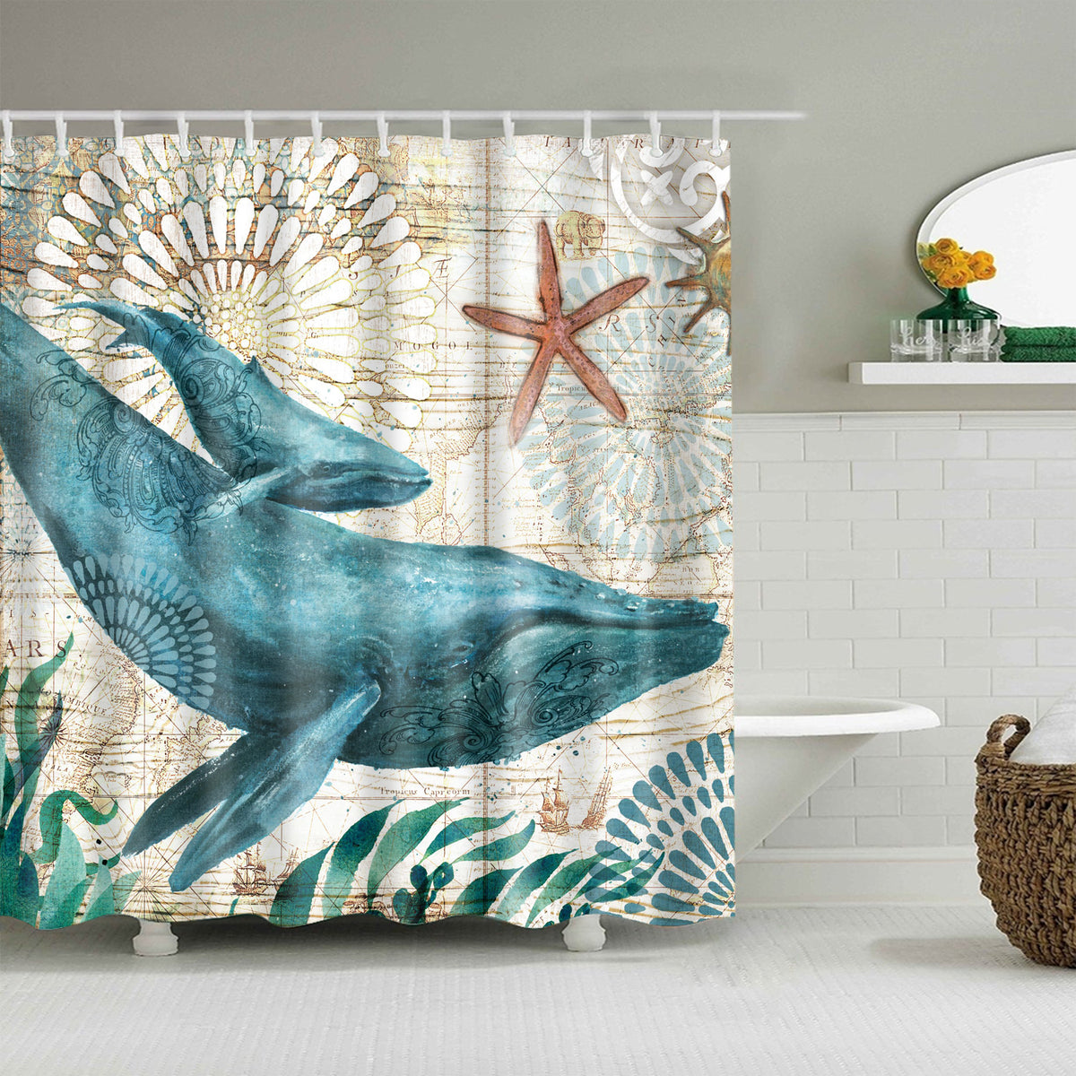 Marine Underwater Life Green Whale Shower Curtain