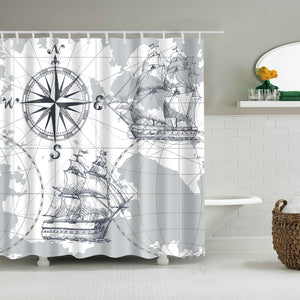 Medieval Compass and Sailing Ship Blue Nautical Sea Map Shower Curtain