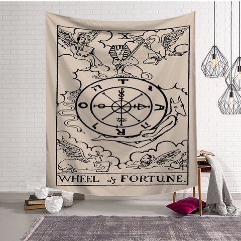 Medieval Compass The Wheel Fortune Tarot Card Tapestry