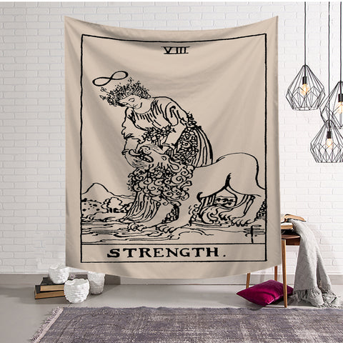 Medieval God with Lion The Strength Tarot Tapestry
