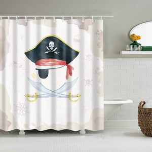 Medieval Treasure Map Pirate Gear Shower Curtain
