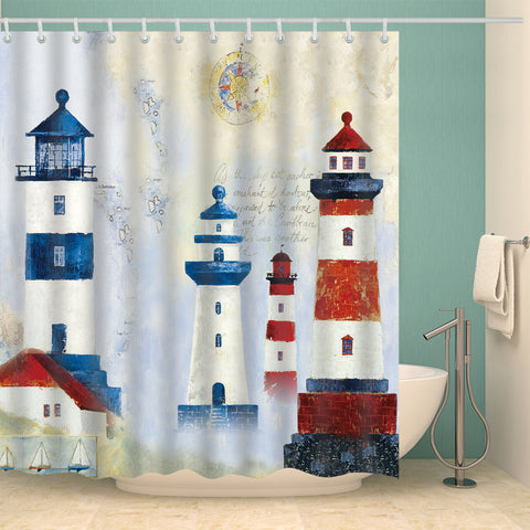 Mediterranean Style Oil Painting Lighthouse Shower Curtain