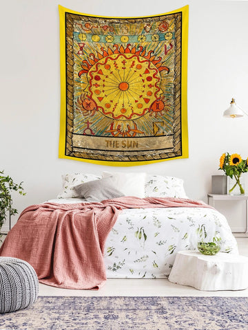 Medival Celestial Constellation Tarot The Yellow Sun Tapestry