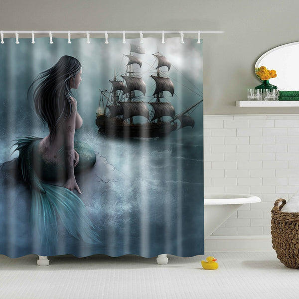 Mermaid Pirate Ship Painting Shower Curtain | GoJeek
