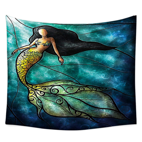 Mermaid Stained Green Glass Piece Tapestry