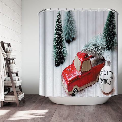Merry Christmas Ornaments Tree Ball Truck Christmas Truck Shower Curtain