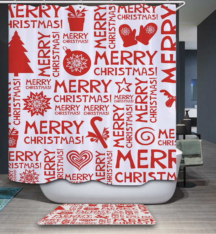 Merry Christmas Red Quotes Shower Curtain