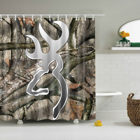 Metal Browning Camo Tree Branch Shower Curtain | GoJeek