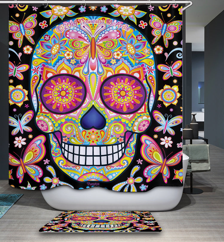 Mexican Mariposa Vibrant Sugar Skull Shower Curtain