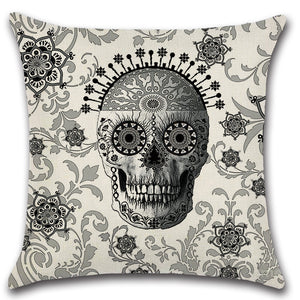 Mexico Victorian Skull Head Bones Throw Pillow Cover
