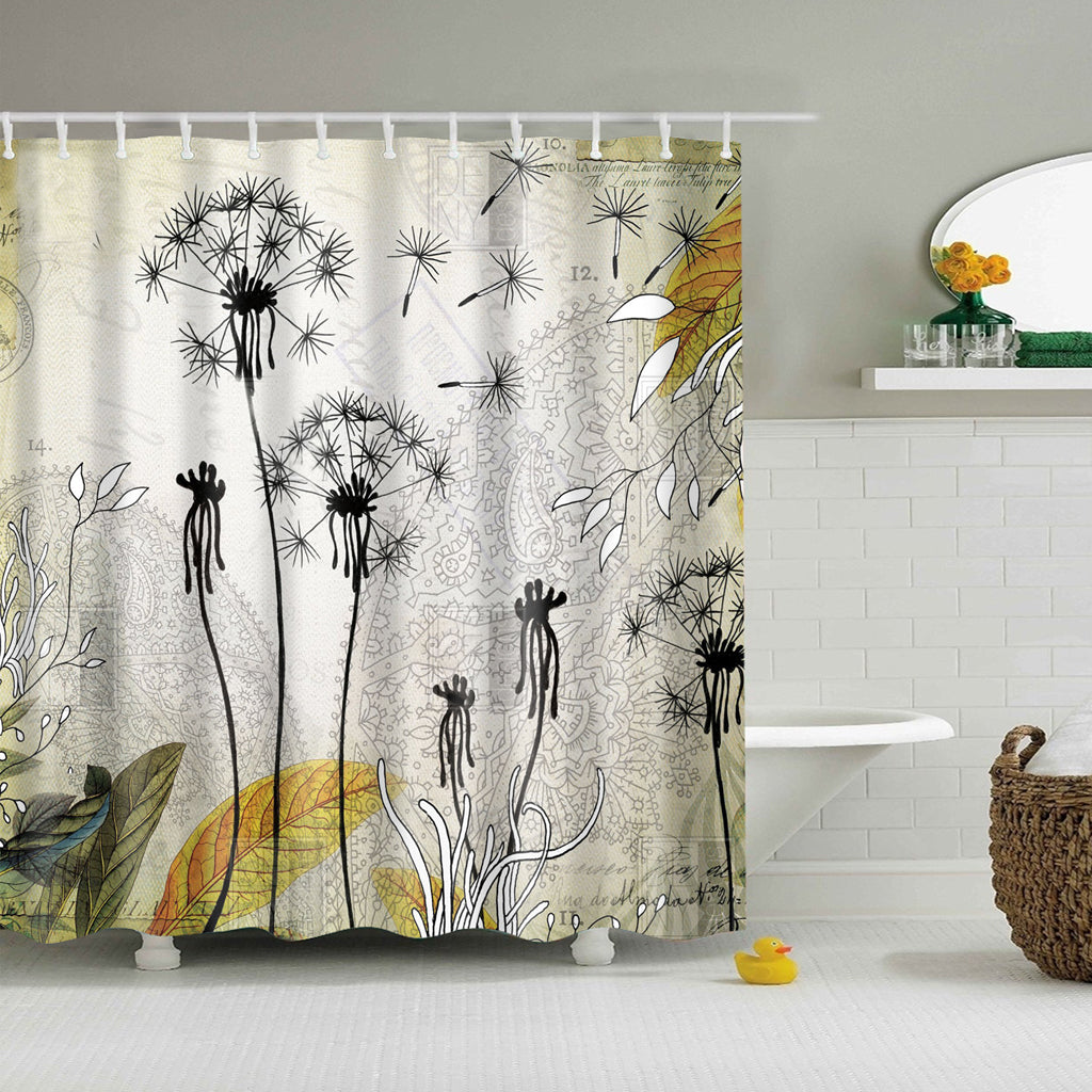 Mint Green Wind Blowing Little Dandelion Shower Curtain