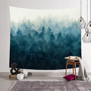 Misty Morning Green Mountain Tapestry Home Living Room Decor