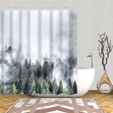 Misty Fog Pine Forest On Mountain Shower Curtain