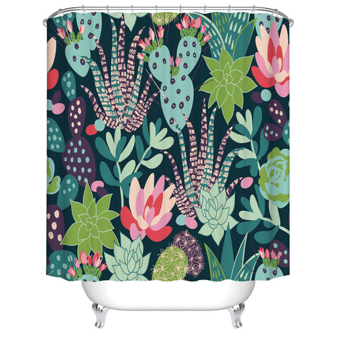 Mixed Cati Succulents Family Plant Blooming Cactus Shower Curtain