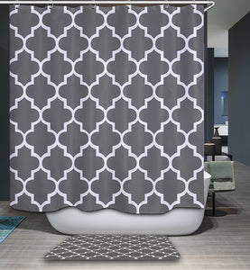 Modernism Grey And White Geometric Shower Curtain