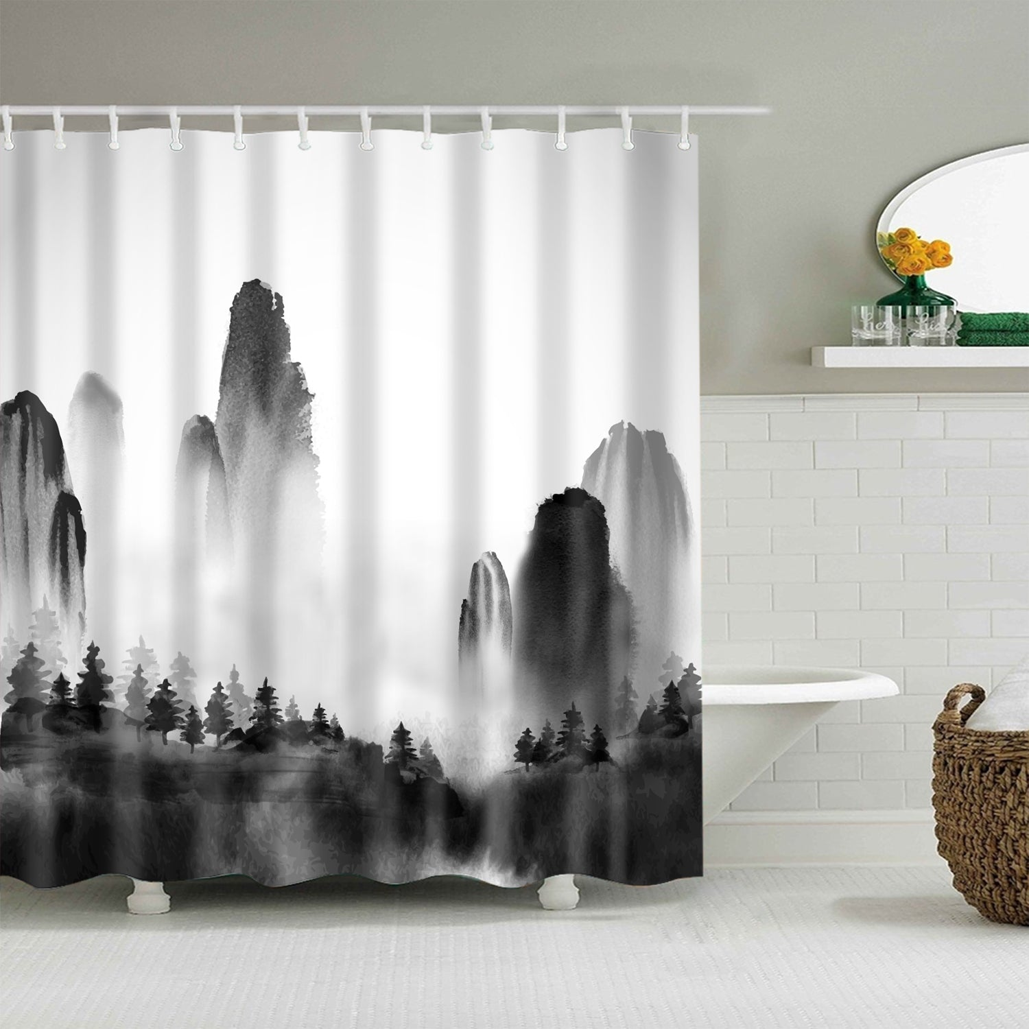Monochrome Ink Mountain Chinese Painting Forest Shower Curtain