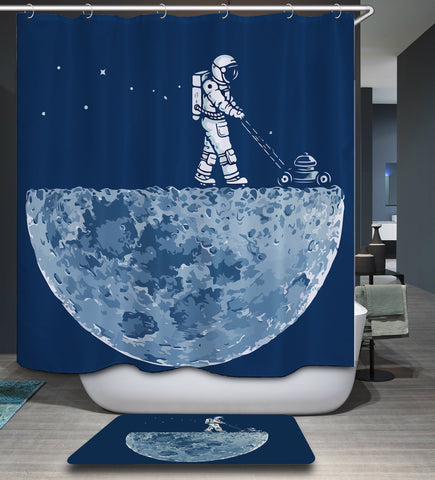 Moon Mower Lunar Astronaut Shower Curtain
