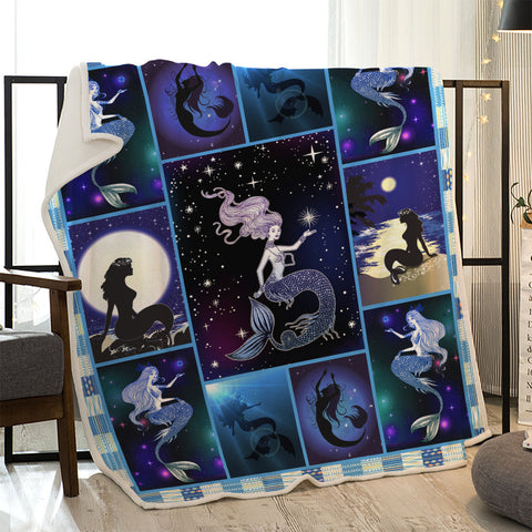 Moon Star Night Mermaid Coast Quilted Throw Blankets