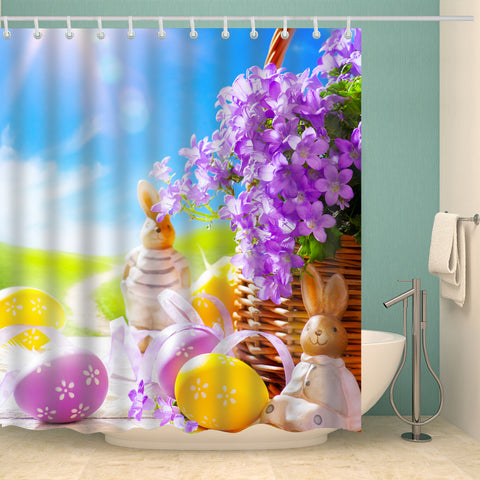 Morning Glory Decor Easter Rabbit Craft Shower Curtain