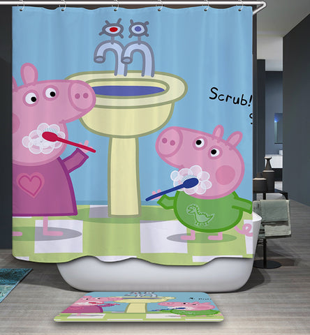 Morning Teeth Brushing Pig Shower Curtain | GoJeek