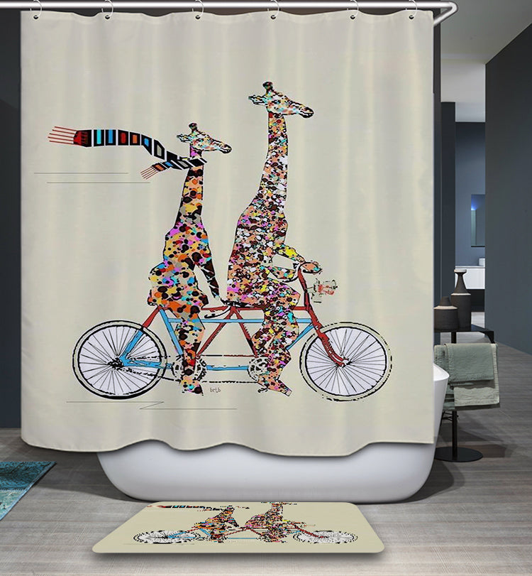 Mother Day Themed Winter Season Love Family of Giraffe Riding Bicycle Shower Curtain