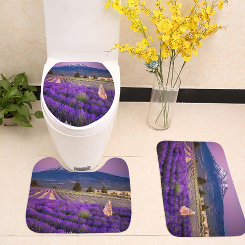 Mount Fuji Village Farm Lavender Field Toilet Seat Cover