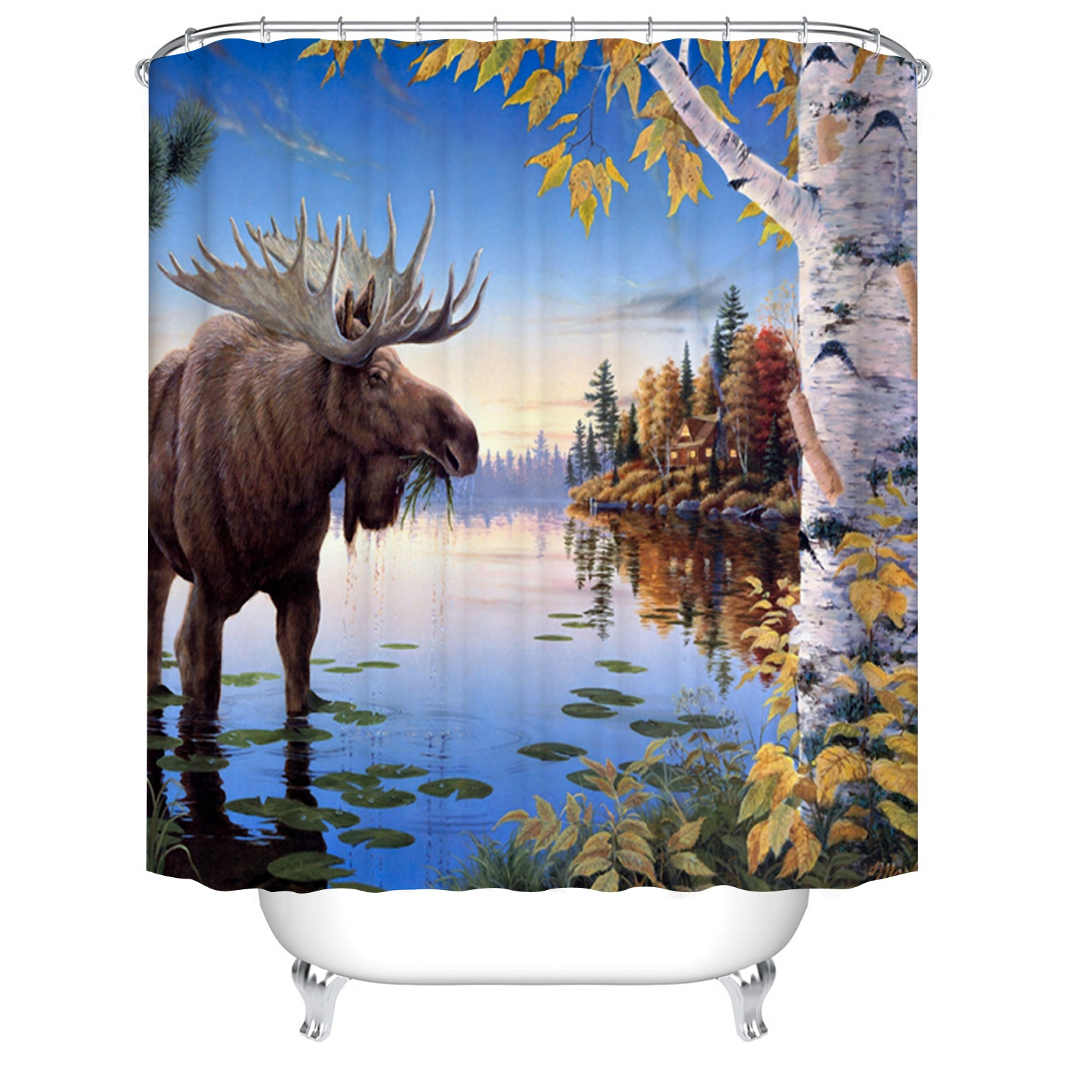 Mountain River Birch Tree Wildlife Moose Shower Curtain