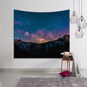 Mountain Sky Star Night Galaxy Tapestry