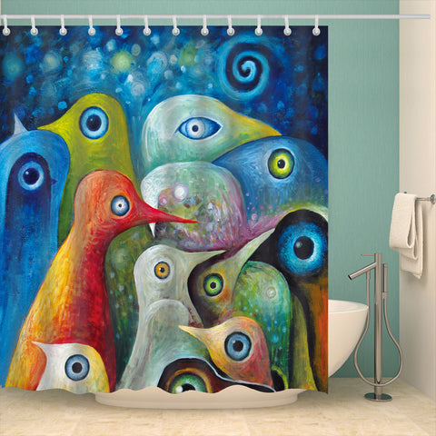 Multi-color Abstract Birds Arts Oil Painting Shower Curtain | GoJeek