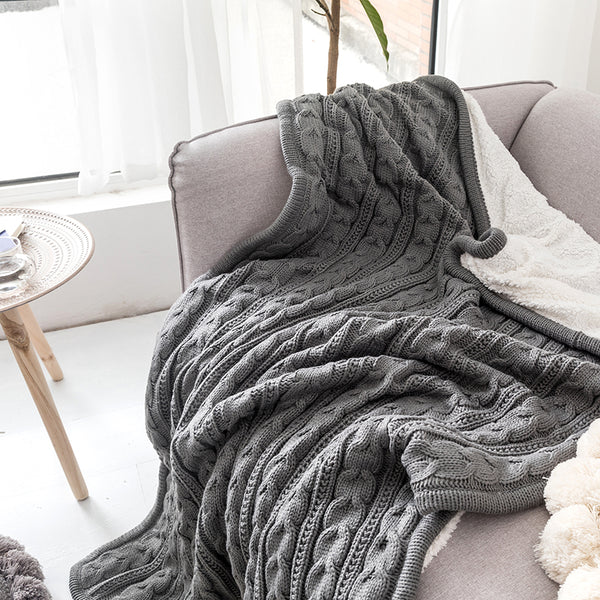 Grey Color Chunky Knit 2 Sides Acrylic Yarn Plush Soft Sherpa Throw Blanket