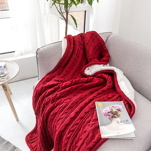 Red Color Chunky Knit 2 Sides Acrylic Yarn Plush Soft Sherpa Throw Blanket