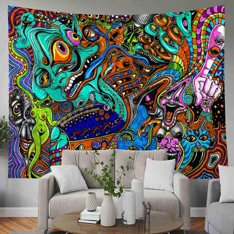 Multi Colors Eyes Faces Trippy Psychedelic Tapestry