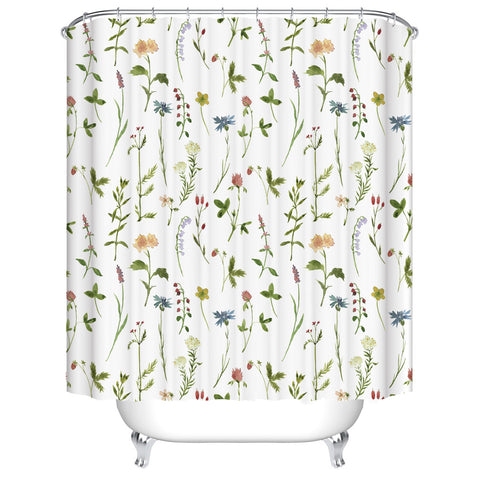 Multicolored Small Spring Flower Plant Laid Out Shower Curtain